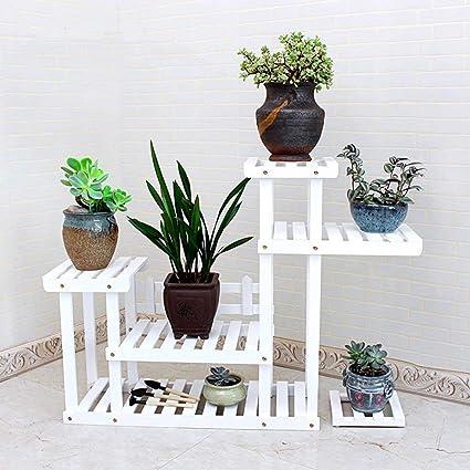 Amazoncom Cwj Flower Stand Multifunction Shelfs Solid Wood