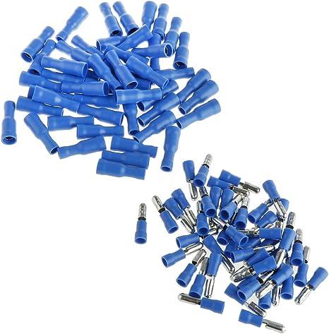 100 Stück Elektrische Steckverbinder Kabelschuhe Rundstecker Rundsteckhülsen 16 14 Awg Baumarkt