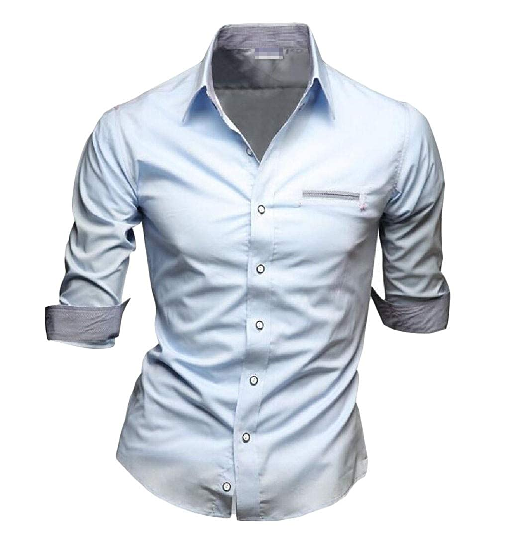 CMCYY Mens Juniors Top Button Down Three Quarter Sleeve Slim Shirt