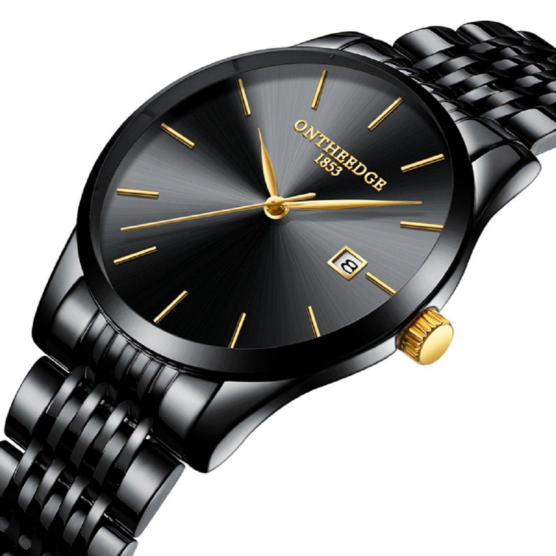 Yelovemei Waterproof Watch Quartz Wristwatch Business Dress Men's Stainless Steel Watch (Black)