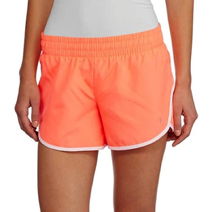 9c849bad53aec5 Amazon.com  Danskin Now Womens Woven Running Shorts With Built-In Liner  Orbit Orange  Arctic White Size XS  Clothing