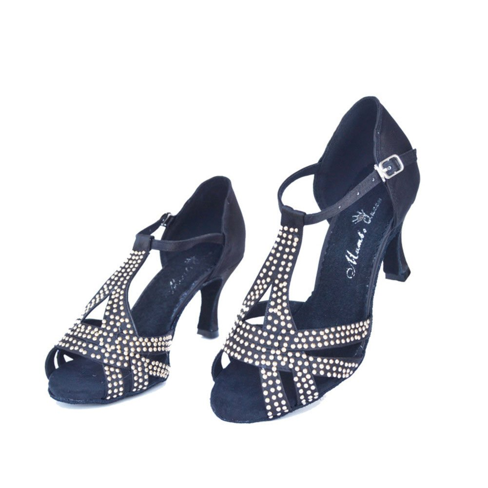 QWERTYUIOP Frauen Latein Tanzschuhe Diamant High Heels Dancing Schuhe Leise Unten Ballroom Dance Schuhe