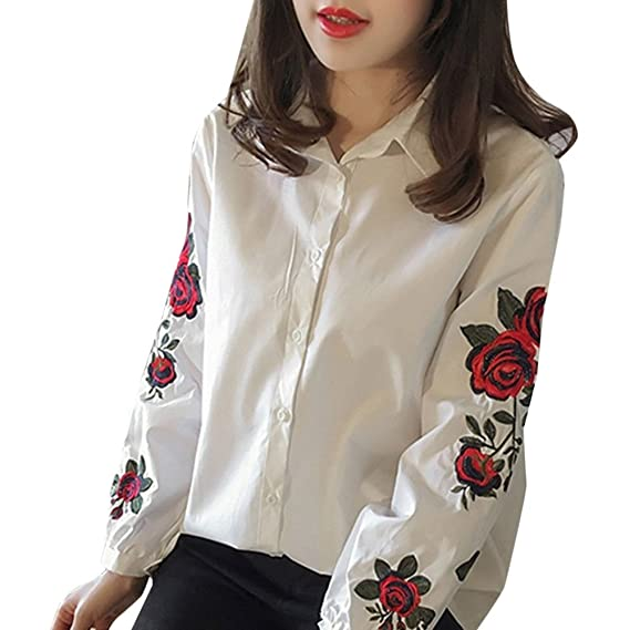Sky Mujeres Blusas Casual Señoras Floral Bordado Linterna Camisa de Manga Larga Embroidery Lantern Long Sleeve