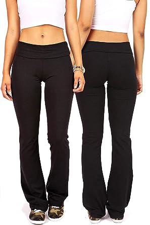 1d7792b5de995c Amazon.com: Ambiance Bundle Pack Women's Juniors Foldover Soft and Stretchy  Yoga Pants: Clothing