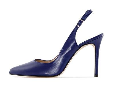 Soireelady Damen Fashion Pumps,Spitze Zehen Übergröße Pumps,Slingback Schuhe M-brown EU39