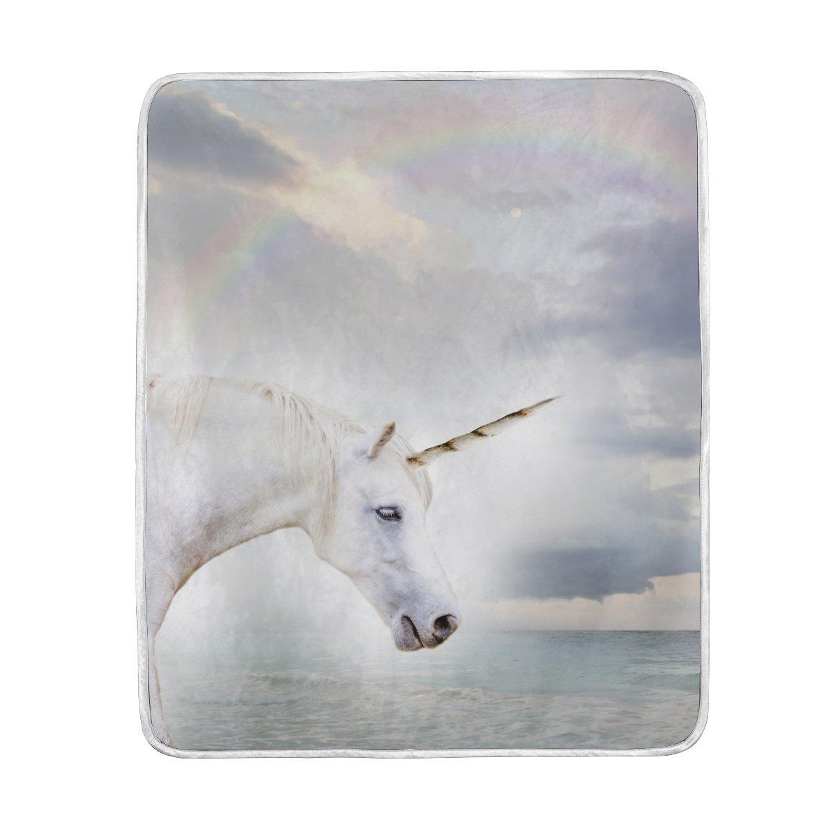 mydaily unicornio y arco iris manta sofá cama manta microfibra de poliéster ligero suave y cálida manta 50x60 Pulgadas/127x152cm: Amazon.es: Hogar