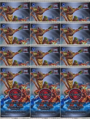 Chaotic DAWN OF PERIM SECRETS Trading Card Game Booster - 12 PACK LOT (9 Cards/Pack)
