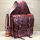 HILASON WESTERN FLORAL ACORN TOOL LEATHER COWBOY TRAIL RIDE HORSE SADDLE BAG