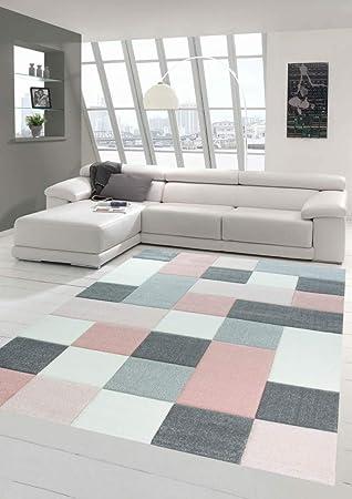 Merinos Tapis Design Et Moderne A Carreaux Rose Gris Creme