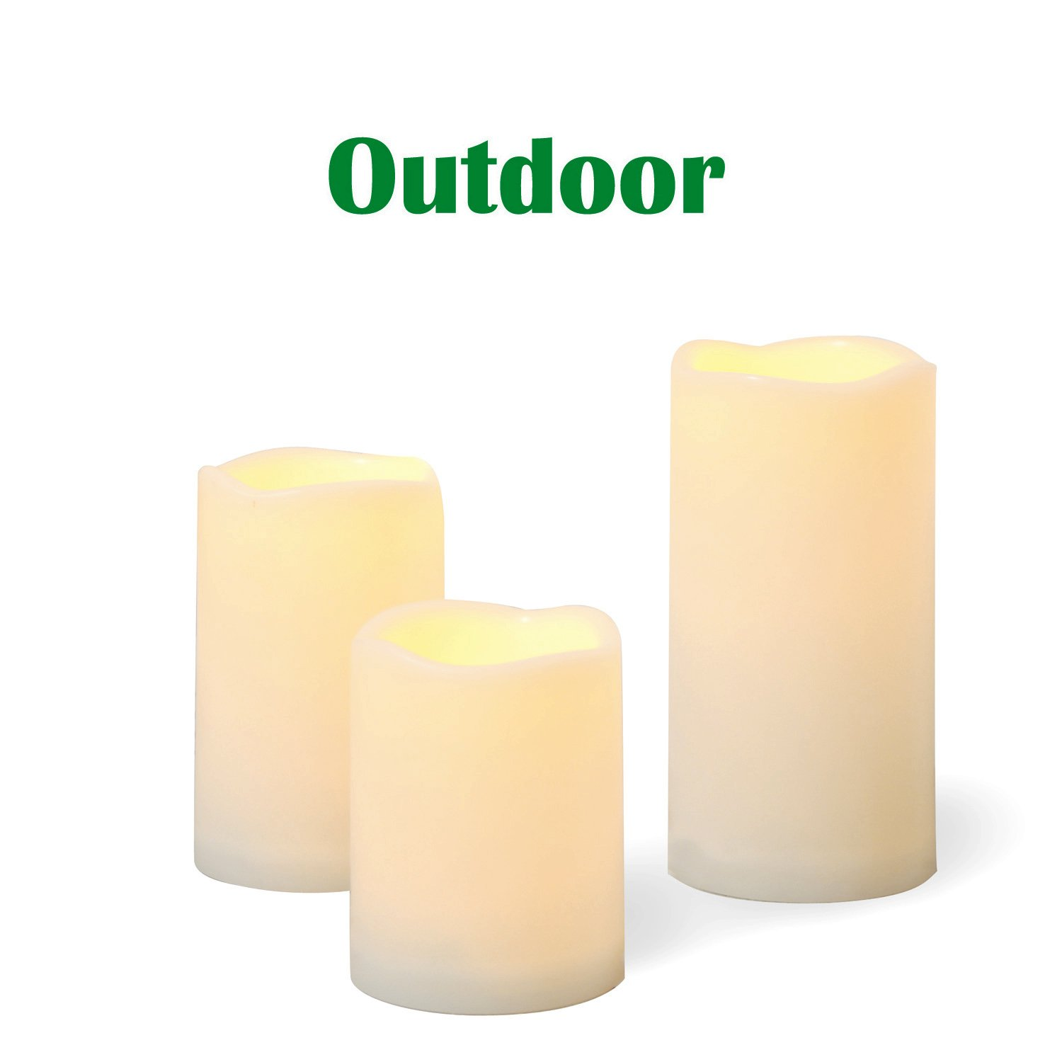 "Outdoor Flameless LED Candles with Timer - 3-Pack Long Lasting Waterproof Realistic Flickering Battery-operated Battery Powered Electric Electronic Plastic Resin Pillar Candle Set 3""(D)x4"" 5"" 6""(H)"