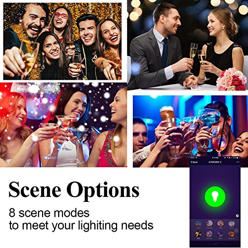 Tonbux Alexa Smart LED Bulb, Work with Echo and Google Home, No Hub Required WiFi Color Light Bulbs(10W) A21, Phone Controll and RGBW Tunable (60W Equivalent) by TONBUX (Image #2)