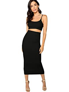 0849afe317befa SheIn Women's 2 Pieces Spaghetti Strap Crop Cami Top and Bodycon Skirt Set