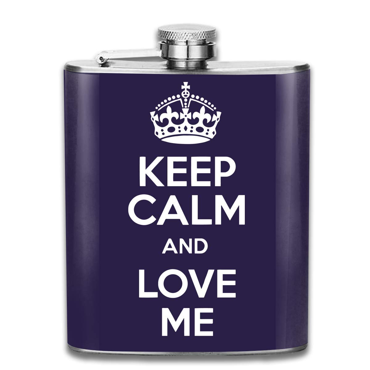 deyhfef Men and Women Thick Stainless Steel Hip Flask 7 OZ Keep Calm and Love Me Pocket Container for Drinking Liquor Vodka