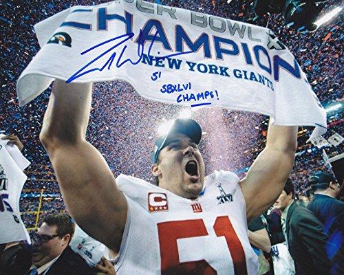 (Signed Zak DeOssie Photo - SB XLVI CHAMPS 8x10 - Autographed NFL Photos)