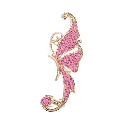 b9d93e406f8f Jasnyfall mujeres Full Rhinestone mariposa elf en forma de pendientes  metálicos Ear Clip exquisitos pendientes negros para niñas damas mujeres   Amazon.es  ...