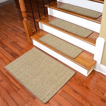 Dean Attachable Non Skid Sisal Carpet Stair Treads   Desert   Set Of 13 Plus