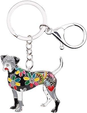 Boxer Dog Image Black Leather Keyring in Gift Box