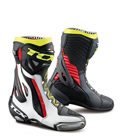 fc61682873055 Amazon.com: TCX Boots Men's RT-Race Boots White/Red/Yellow Fluo Size ...