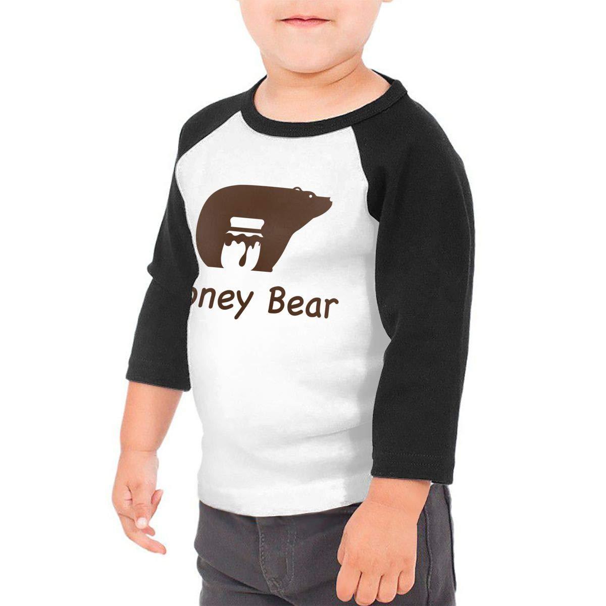Honey Bear Kids Jersey Raglan T-Shirt Children 3//4 Sleeve Baseball Shirt Top