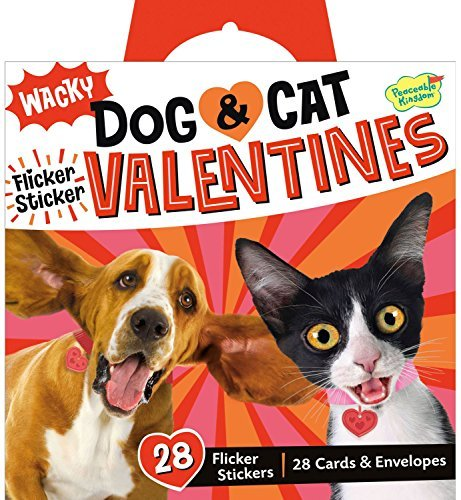 Peaceable Kingdom Wacky Dog & Cat Flicker Sticker 28 Card Super Valentines Pack