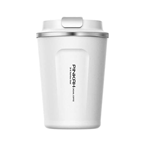 PINKAH Tazas de café/Vaso / Taza de Viaje, Ventosa con Tapa de Acero Inoxidable de Doble Pared con Tapa para Taza Caliente/fría Travel & To Go, 380 ML ...