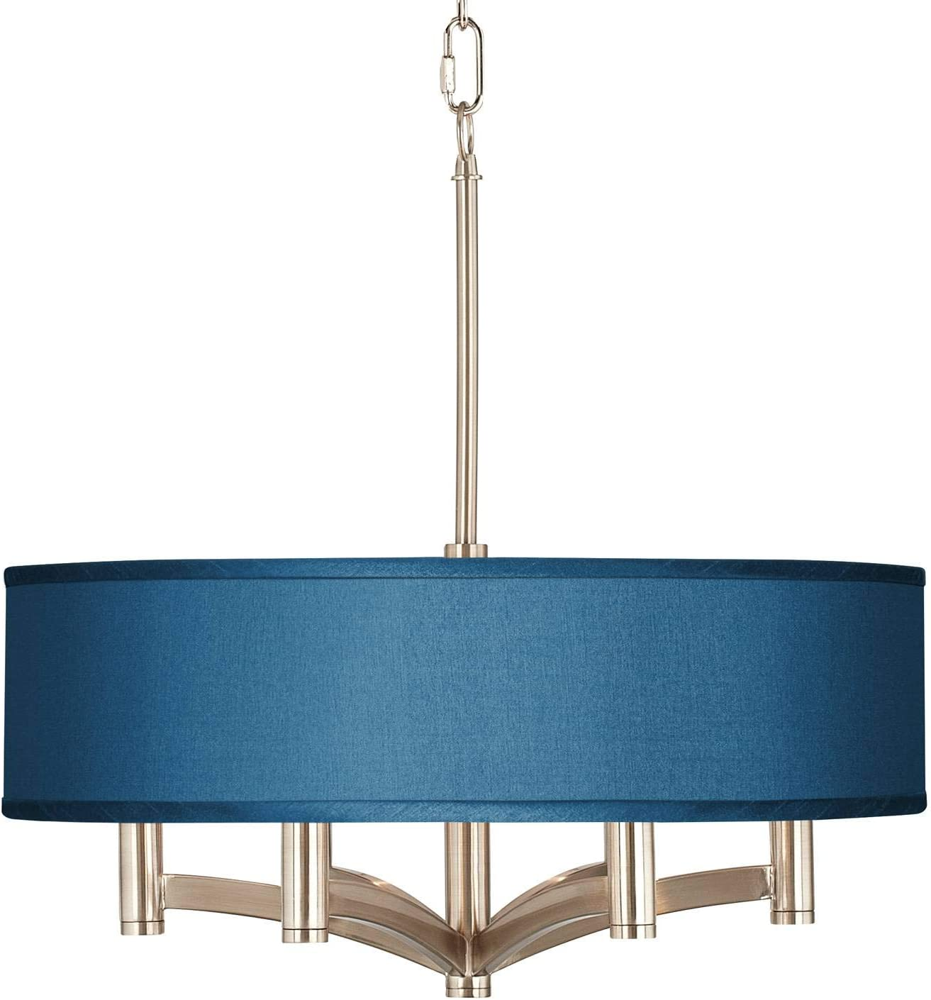 Lighting Ceiling Fans Ava Brushed Nickel Drum Pendant Chandelier 20 Wide Modern Blue Faux Silk Shade 6 Light Fixture For Dining Room House Foyer Kitchen Island Entryway Bedroom Living Room Possini Euro