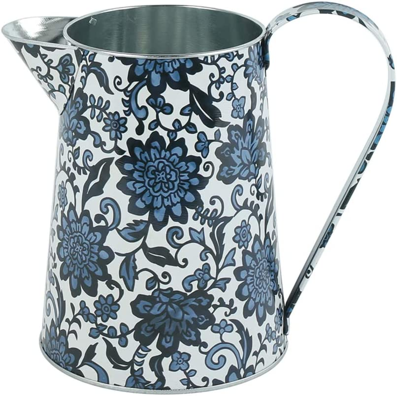 WHHOME Shabby Chic Watering Can Galvanized Finish Metal Vase Country Rustic Pitcher Primitive Jug Decorative Flower Holder, 7.1
