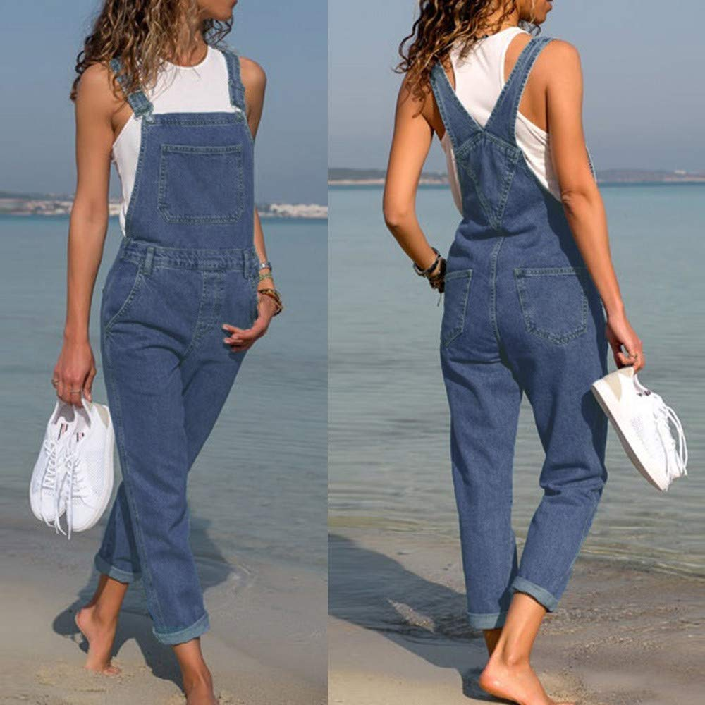 Orangeskycn Womens Denim Jumpsuits Summer Holiday 2018 Fashion Long Rompers Bib Pants