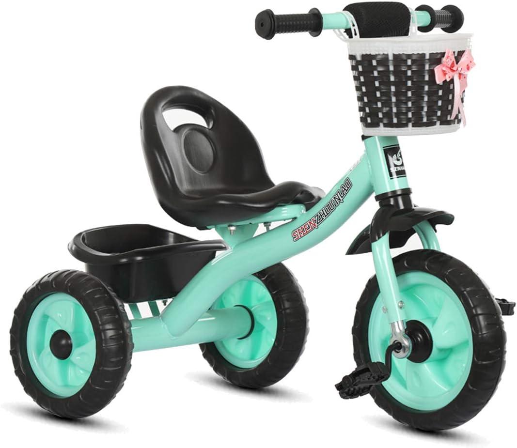 GRXXX Triciclo de niños Rider Cochecito Bicicleta Coche de Juguete Luz al Aire Libre Desgaste Resistente Anti-caída Boy Girl,Green-OneSize