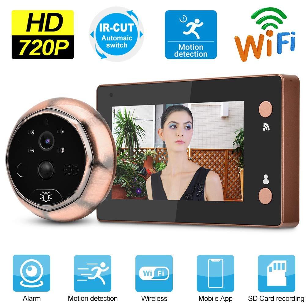 4.3 Pulgadas 720P HD WiFi Visor de Mirilla de Puerta Timbre Visual Inteligente Videoportero de Puerta con detecci/ón de Movimiento//visi/ón Nocturna para Seguridad en el hogar Visor de Puerta Digital
