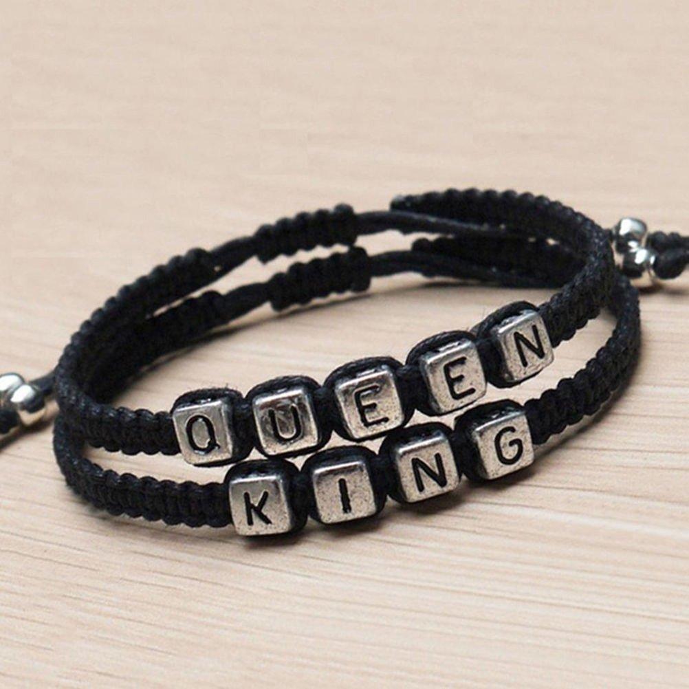 2b0922d5557d PIXNOR Pulseras de parejas establecido rey y reina pulsera pulseras hechas  a mano de los amantes (negro)