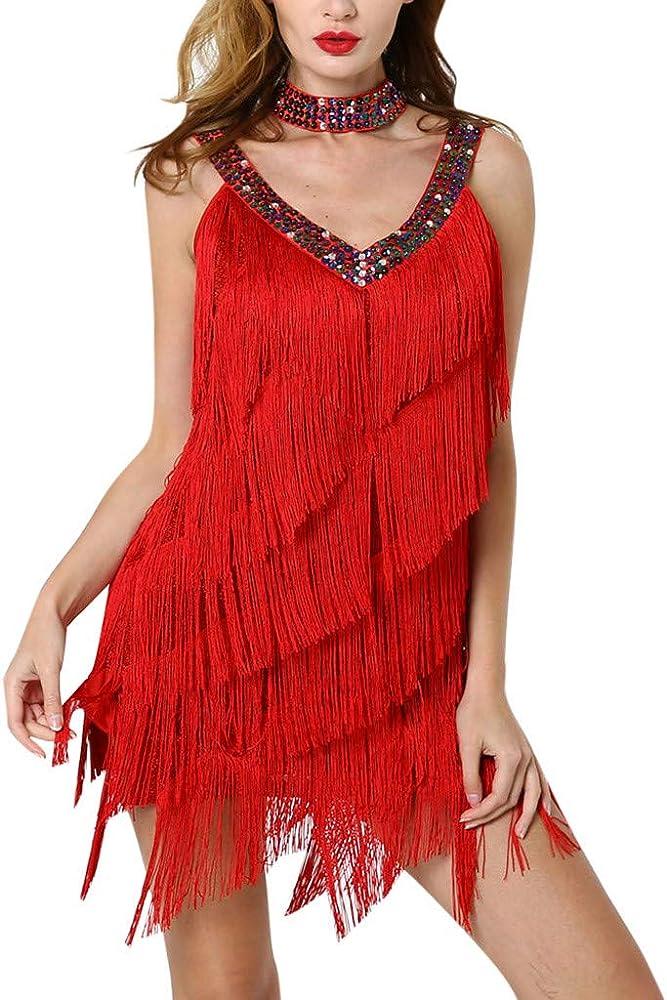 QIjinlook Vestido Salsa Mujer/Escote en V Profundo con Lentejuelas ...