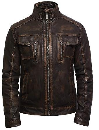 96c56928d4 Brandslock Herren Lederjacke Biker echtes lammfell Jahrgang schwarz (XS -  (für die Brust: