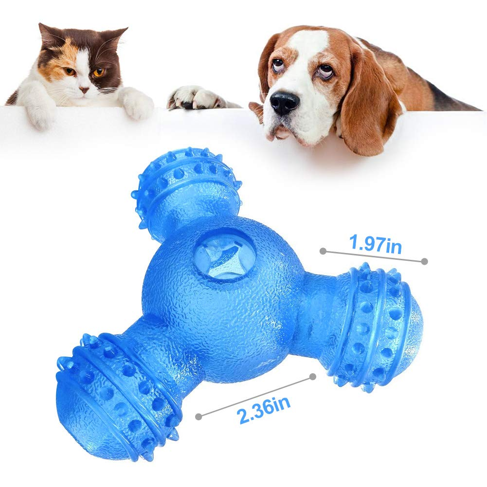 OldShark Dog Ball Toys Interactive Food Dispensing IQ Treat Ball Nontoxic Pet Puzzle Toys for Puppy Small Medium Dog Cat Chasing Training (Blue)