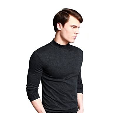 005ad748445424 OCHENTA Men's Long Sleeve Turtleneck Slim Fit Casual T-Shirts Dark Grey  Lable M (