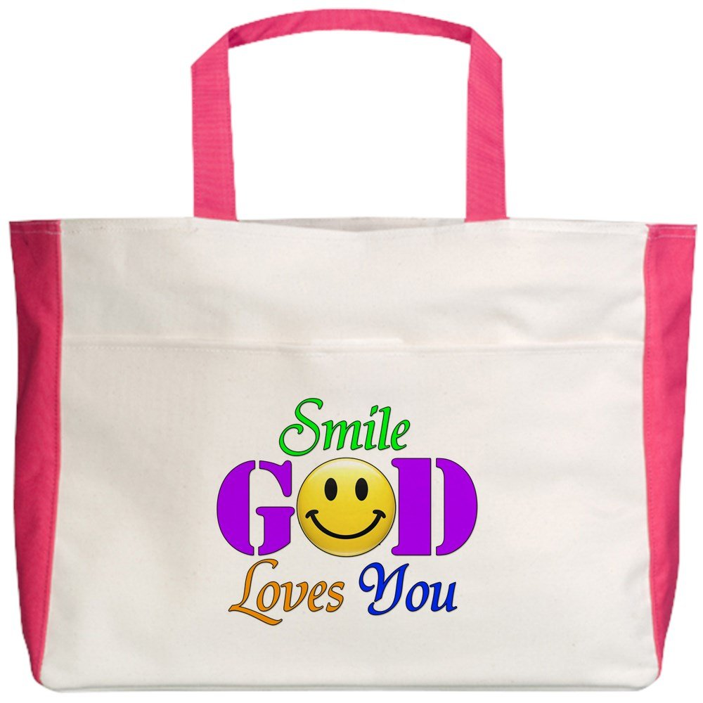2-Sided Royal Lion Beach Tote Smile God Loves You
