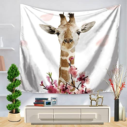 YQ Park Decorative Tapestry Simple Giraffe Print Bedroom Life Kids Girl Boy Room Dormitory Accessories Tapestry