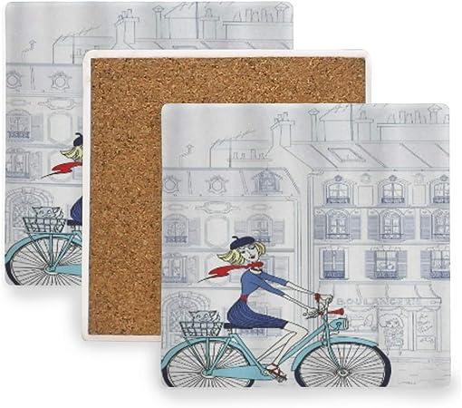 PANILUR Mujer Montando Bicicleta París con Gato ilustración Estilo francés Europeo,Posavasos de cerámica,Base de cojín para Taza de café: Amazon.es: Hogar