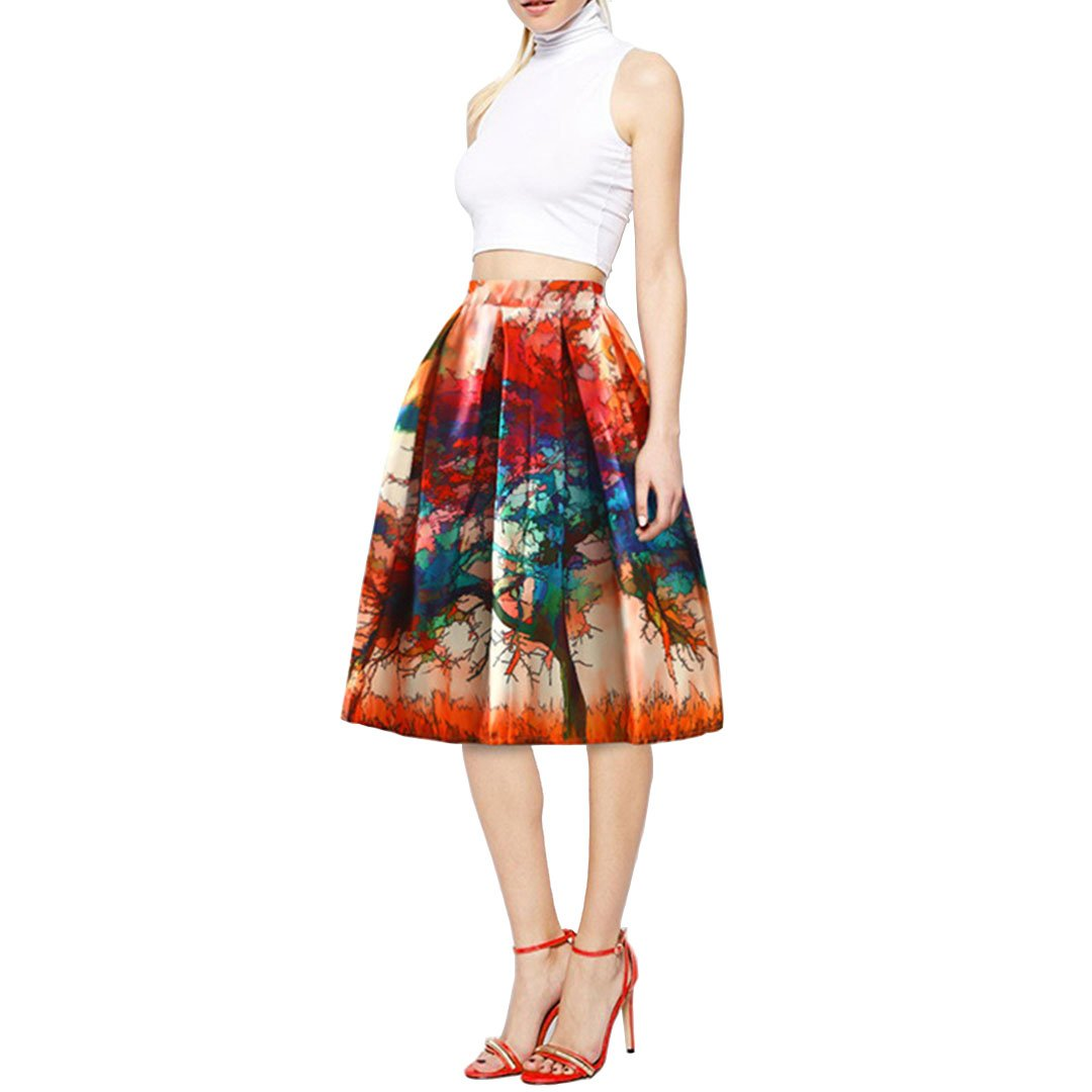 orange&red Mocure Women' s Graceful High Waist Art Print Skirt Stylish ALine Pleated Casual Swing Skirt