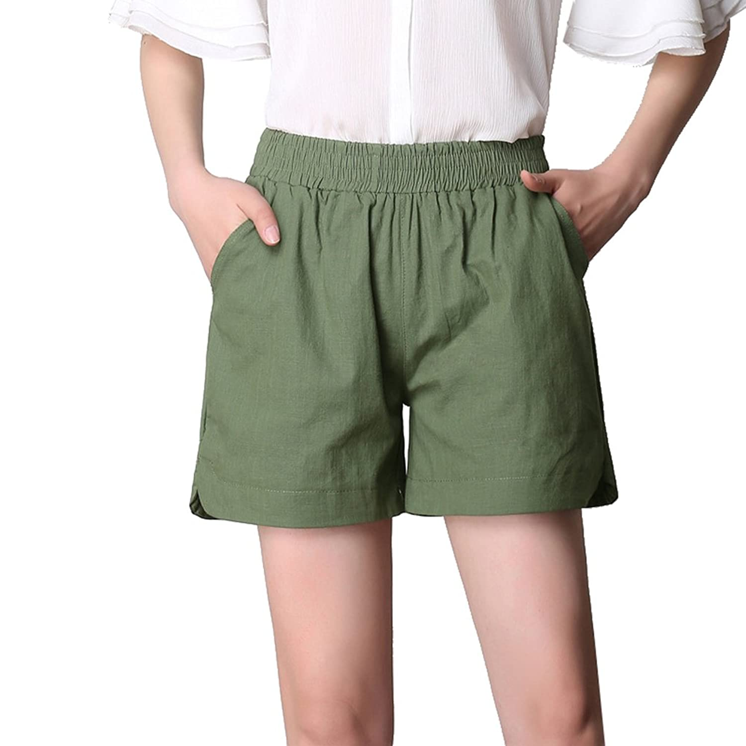 a54315ac562e5 Gihuo Women s Classic Short Cotton Linen Solid Color Beach Hot Pants (Plus  Size)