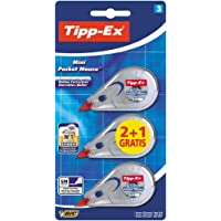"""Cinta correctora Tipp-Ex Mini Pocket Mouse - Corrector de bolígrafo óptimo para la oficina - 6 m x 5 mm, Pack de 2+1"""