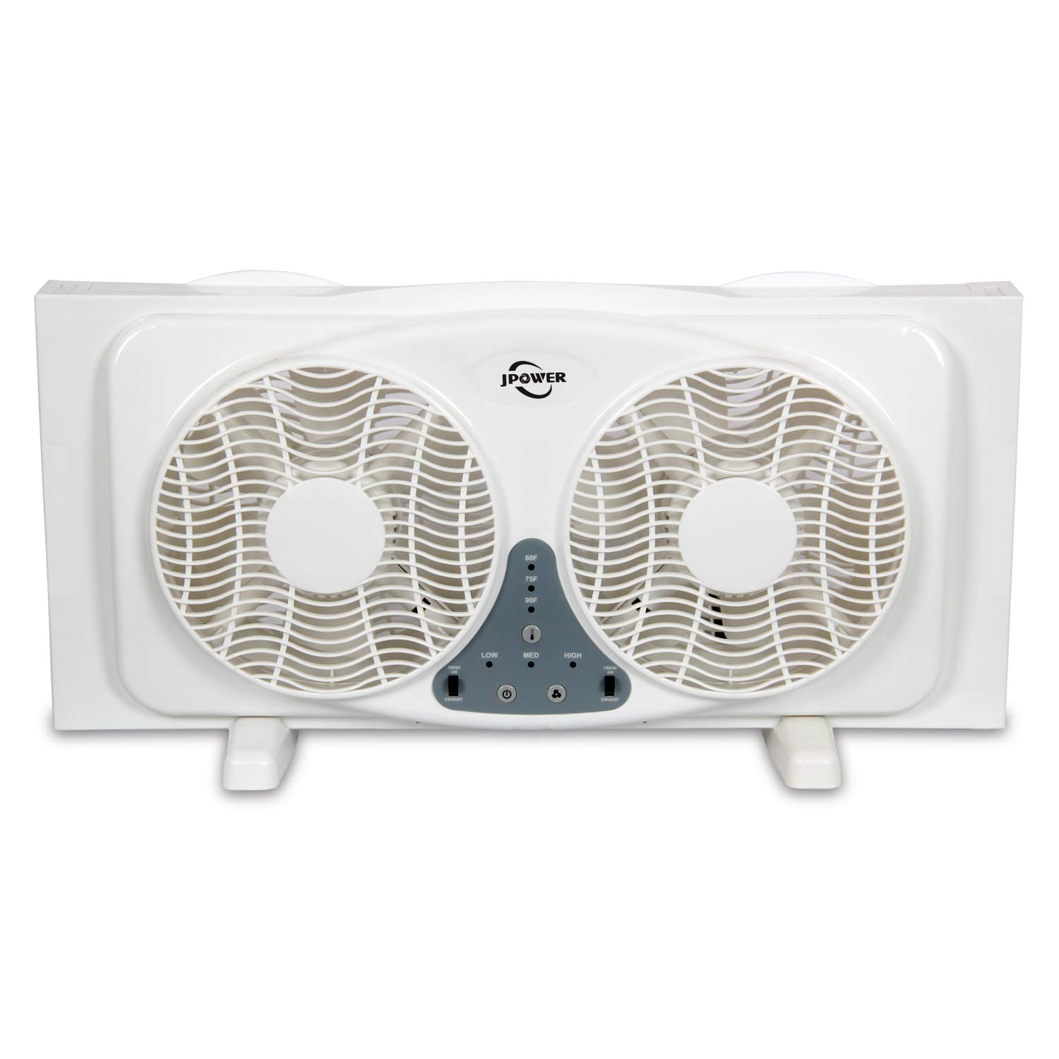 JPOWER Digital Window Fan with Twin 9-Inch Reversible Airflow Blades and 3-Speed Fan Switch with Built-in Thermostat