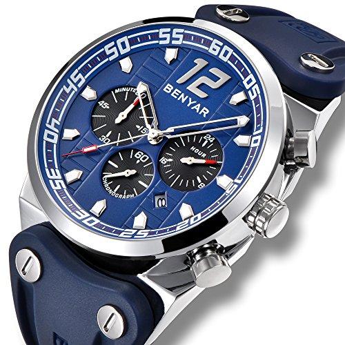 Dial Blue Alloy Case - BENYAR Watch Men Chronograph 3ATM Waterproof Sport Fashion Silicone Band Blue Dial Silvery Case Quartz Movement