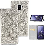 Stysen Galaxy A8 2018 Flip Case,Galaxy A8 2018 Glitter Wallet Case,Elegant Noble Stylish Silver Ultrathin Secure Magnetic Closure Shiny Glitter Sparkle Bling PU Leather Bookstyle Soft Silicone Inner Tpu Case with Card Slots Pouch and Stand Function Folio Buckle Wallet Protective Case Cover for Samsung Galaxy A8 2018-Silver