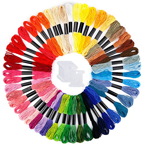 Caydo Embroidery Floss 50 Skeins Friendship Bracelets Floss Rainbow Color Embroidery Thread Cross Stitch Floss with 12 Pieces Floss Bobbins ()