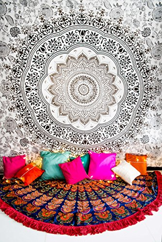 Salt & Pepper Mandala Tapestry Bohemian Bedding with Pillow Covers, Indian Hippie Grey Wall Hanging, Hippy Blanket or Beach Throw, Gray Ombre Bedspread for Bedroom, Black Queen Size Boho Decor