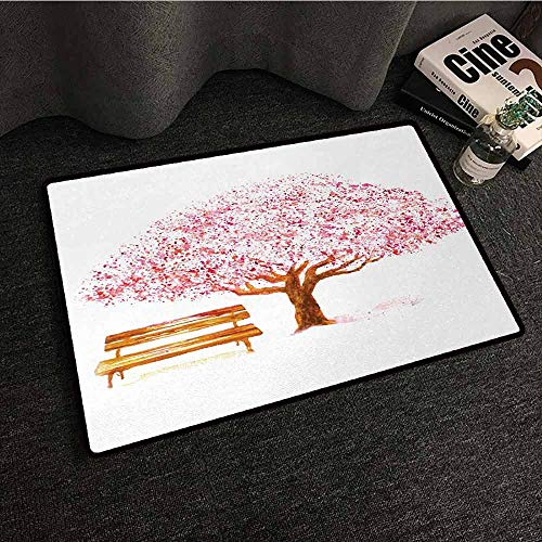 (DuckBaby Welcome Door mat Nature Watercolor Blooming Cherry Tree in The Park with Wooden Bench Floral Artwork Print Quick and Easy to Clean W16 xL24)
