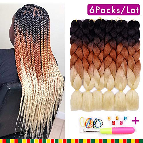 6 Packs Ombre Braiding Synthetic Hair Kanekalon Fiber Jumbo Braids Hair Extensions (Black to Brown to Blond) (Ombre Hair Brown To Blonde Medium Length)