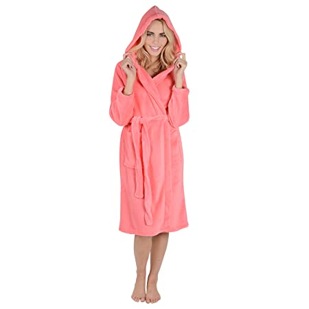 2cfd8e1340 Blush Ladies Hooded Coral Fleece Bath Robe With Hood Dressing Gown Wrap  Housecoat Bath Robe with Belt  Amazon.co.uk  Kitchen   Home