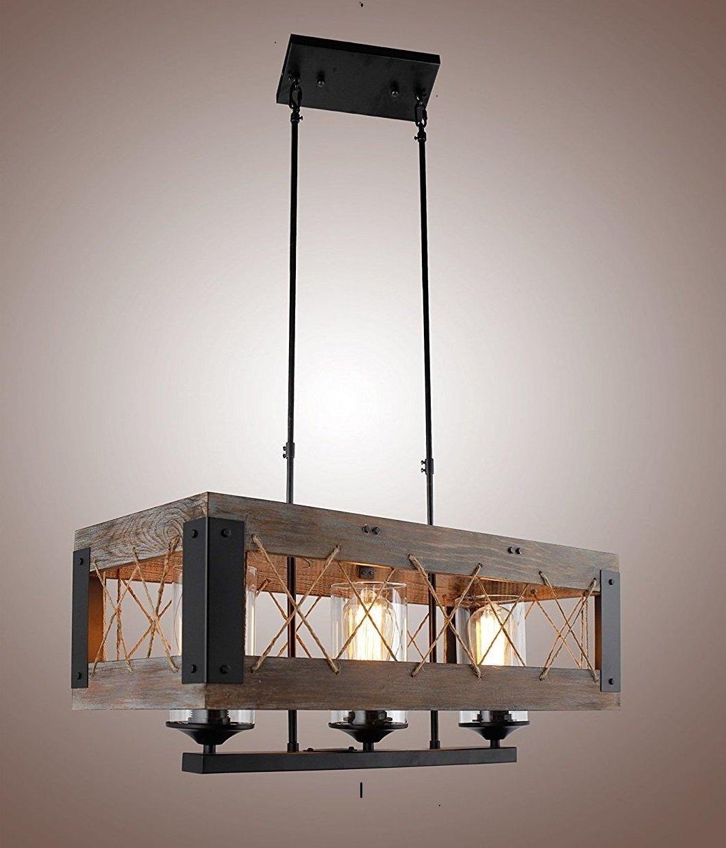 Decomust Island Rectangular Pendant Lighting Chandeliers Kitchen Wood Lighting Hanging,Ceiling Light Fixture Vintage Rustic Oil Black (24 Inches (3 Lights))